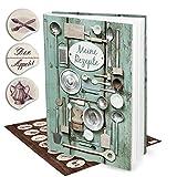 Livre vide XXL-Vert de cuisine pour recettes + 35autocollants patch macaron brodeur 'à manger et...