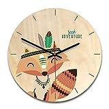 LUYION Horloge Murale en Bois Silencieux Grande Montre pour Enfant de 11 Pouces Mouvement à Quartz de...