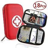Trousse de Premier Secours 18 Articles, Rouge Semi-Rigide Mini Box Sac d'urgence Médical Imperméable Les...