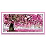 WINOMO Kit de Broderie au Point de Croix de Sakura Fleur Arbre Décoration