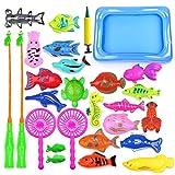 28 Pièce Jouet de Bain,Jouet de Pêche,Jeu de Pêche Magnétique,Jouet de Pêche pour Enfants,Education Play...