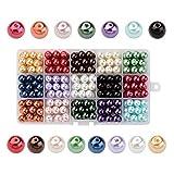 PandaHall - 270 Pcs 15 Couleurs Perle en Verre Perles Rondes Perles Nacrées Teint pour DIY Fabrication de...