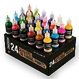 24 Bouteilles de Peinture Textile et Tissu en 3D - Pressez les Tubes (29mL) pour Etaler Peintures sur Tissus...