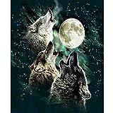 Trois Loups sous La Lune Diamant Dessin Bricolage Peinture Kit Broderie Strass Cross Stitch Arts Craft Supply...