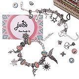 Kit Fabrication de Bracelets à Breloques - Coffret Cadeau Bijoux Chaînes Serpents Plaquées Argent et Perles...