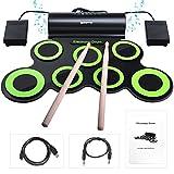 BONROB Batterie Electronique Drum Set, Roll Up percussions Midi Drum Kit avec Casque et Enceintes intégrées...