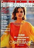 FEMME D'AUJOURD'HUI MODES DE PARIS [No 33] du 12/08/1985 - PATRON / 6 VERSIONS POUR UN CABAN SIGNE...
