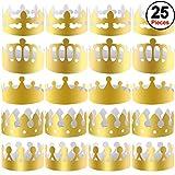 SIQUK 25 pièces Couronnes en Papier Couronne en Or Parti Chapeaux en Papier Couronne du Roi pour Enfants et...