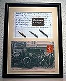 Tableau avec photo ancienne et texte sur les pompiers. Création artisanale Française. Idée cadeau original...