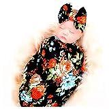 DRESHOW Couverture de réception pour nouveau-né Ensemble de bandeaux Ensembles de fleurs imprimées pour...