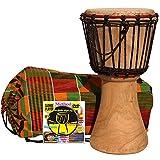 MUSIKID Djembe enfant 40cm X 20cm + housse + méthode DVD djembé en Français – vrais tambours africains...