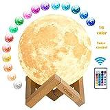 HOKEKI Lampe Lune 3D 16 Couleurs Télécommande Tactile USB Rechargeable Veilleuse avec Support en Bois lampe...