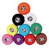 10 Pcs Fil de Crochet - 5g Fil de Coton pour Crochet - Fil Crochet - Fil à Tricoter Idéal pour Les...