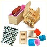 Popuro(TM) Moule à savon en silicone réglable avec boîte en bois + Outil de découpe en acier inoxydable...