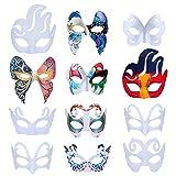 ZOYLINK Masque en Papier mâché, 12 Pcs Artisanat Masque Halloween Masque Blanc Papier Non Peint Masque de...