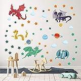 decalmile Stickers Muraux Dragon Coloré Autocollant Décoratifs Planète Étoiles Décoration Murale Chambre...