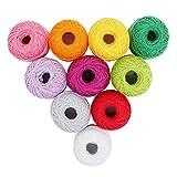 Lot de 10 Bobines de Fil en Coton pour Crochet par Kurtzy - Assortiment de couleurs Unies - Fil Adapté à de...