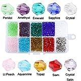 4mm Perle en cristal, perle en verre à facette multi-couleur pour fabrication de bijoux, DIY collier,...