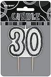 Unique Party - 34423 - Bougie - 30ème Anniversaire - Noir Glitz