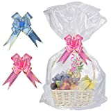 SelfTek Paquet de 20 sacs de panier transparents en cellophane avec 20 paquets de rubans pour ruban (couleurs...