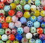 B0010 Assortiment de 100 perles en verre 6 mm