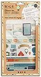 Toga Mon Carnet de Voyage Kit Accessoires Bullet Journal, Papier/Plastique, Bleu-Beige-Orange, Pack :...