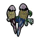 Kentop Patch Broderie Ecusson à Coudre Sticker Motif de Couple Perroquet Appliqué Patch écusson décoratifs...
