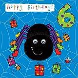 Twizler carte de 6e anniversaire pour enfant avec Spider et fini à yeux...