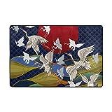 Mnsruu Zone Tapis 6'x 4' Tapis de Sol Japonais grues léger Imprimé Facile à Nettoyer pour Le Salon...