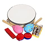 Festnight ammoon Lot de 8 instruments de percussion Musical Toys Bande Rhythmus Kit inclus, Tambourine Maracas...