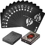 Maxstore Cartes de Poker en Plastique Design 100% imperméable Couleurs Noires et argentées Jeu de Table à...