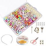 Enfants Bricolage Perles Set (500 Pcs), Phogary Bracelets Bricolage Colliers Perles Pour La Fabrication De...