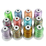 New brothread 12 Multicolore Polyester Fil Machine à Broder pour Brother/Babylock/Janome/Singer/Kenmore...