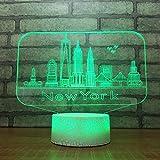 New York City Bâtiments Modèle Fissure Illusion Optique Lampe Led 3D Lampe Veilleuse Acrylique Atmosphère...
