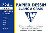 Clairefontaine 96156C Pochette dessin à grain 21 x 29,7 12 Feuilles Blanc