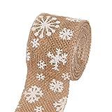 Wakerda 1pcs Crafts Ruban de Noël 1m Flocon de Neige Décorations en Dentelle Lin Rouleau de Ruban Arts...