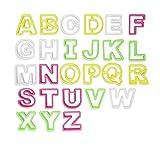 ilauke 26 Grandes Découpoirs Alphabet Emporte-Pièces Multicolores en Plastique pour Gâteau Fondant Biscuit...