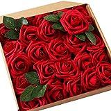 JaosWish Rose Artificielle Fausse Fleur 25 pcs Tige Feuille Ajustable Touche réelle déco Mariage Restaurant...