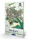 UHIBROS Dublin Voyage par Rail et Mer en Bois Décoration Murale - 40 x 59 cm