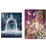 2 Pack 5D Diamant Peinture Art Complet Kits, Fleur De Diamant Reine Elfe et Beauté et La Bête Rose 5D...