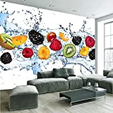 Hwhz Fruits Frais Modernes Tombent Dans L'Eau Photo Papier Peint Restaurant Café Simple Cuisine Murale 3D...