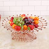 CanKun Fruit Basket Bowl Home Crafts Ornements , rose gold , A