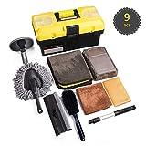 HAWKFORCE 9 PCS Kit d'Outils de Lavage de Voiture - Plumeau, Brosse Roue, Brosse Pneu, Raclette, Applicateur...