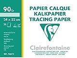 Clairefontaine 96873C Pochette de 20 Feuilles de calque supérieur 24 x 32 cm 90/95g Transparent