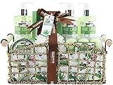 BRUBAKER Cosmetics - Coffret de bain & douche - Aloe vera - 13 Pièces - Panier rétro décoratif - Idée...