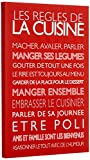Feel Good Art Toile sur Cadre Art Mural de Style Moderne/Typographique Règles de Cuisine Rouge 60 x 40 x 4 cm...