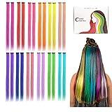 Kyerivs Postiches extensions lisses pour cheveux Couleurs de l'arc-en-ciel Extensions de Cheveux Raides avec...
