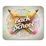 Mouse Pads High Detailed Design for Back to School Wrinkled Supplies Red Sharp Wooden Pencil and 3D Welcome...