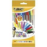 BIC Cristal Multicolour Stylos-Bille Pointe Large (1,6 mm) - Couleurs Assorties, Pochette de 10