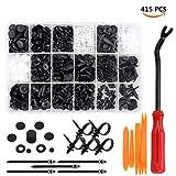 Preciva 415 PCS Rivet Clips Plastique, Rivets Plastiques Fixation de Protection Noir Universel pour Auto...
